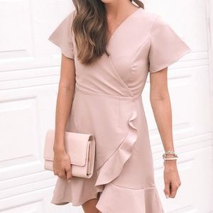 Dusty Pink Ruffle Wrap Dress